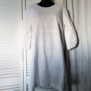 GAP white cotton eyelet 3/4 sleeves dress 12